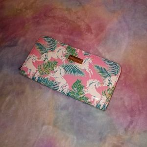 SIMPLY SOUTHERN Unicorn & Tropical Leaf Pink Wallet
